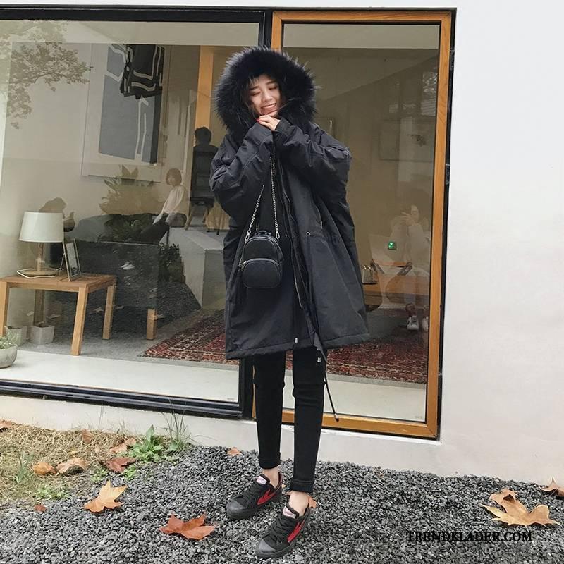 Bomull Jacka Dam Mode Vinter Lösa Bomullskläder Med Huva Till Svart