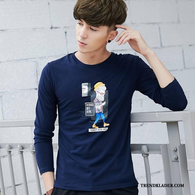 Långärmad T shirt Herr Rund Hals Bottenskjorta Trend 2018