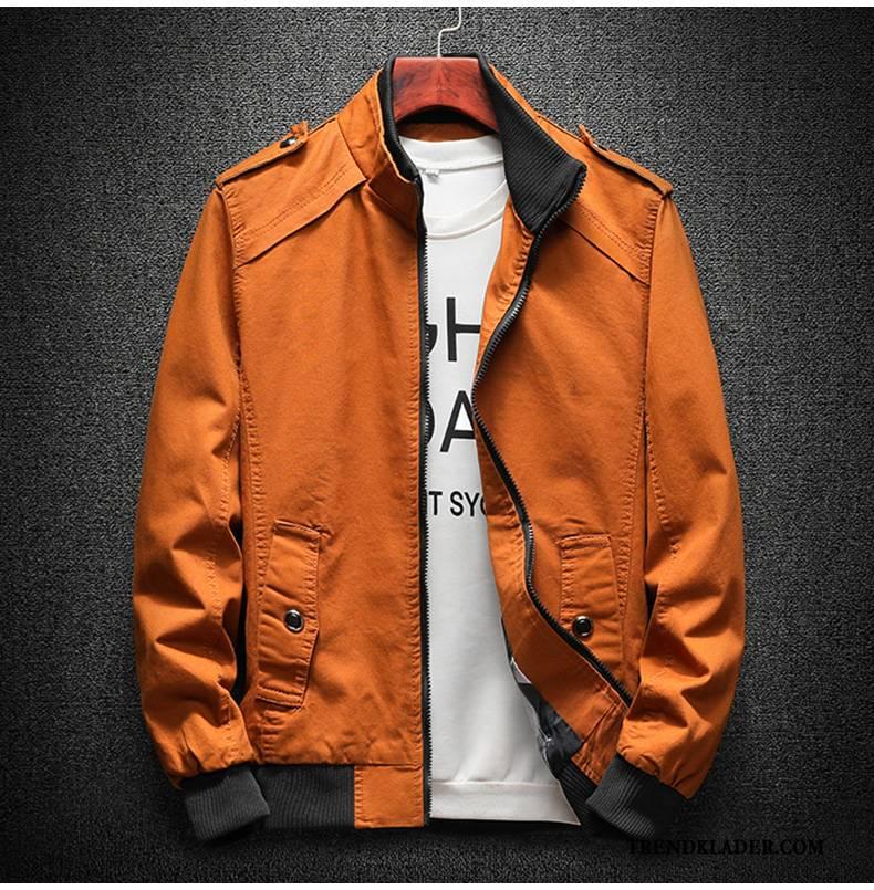 Jacka Herr Denim Kappor Rockar Ny 2018 Slim Fit Vacker Camouflage Orange Svart