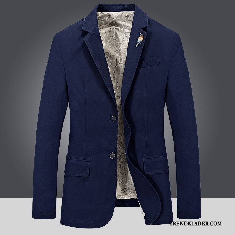 Kavaj Herr British Blazer Toppar Kostym Vår Vacker Blå Köpa
