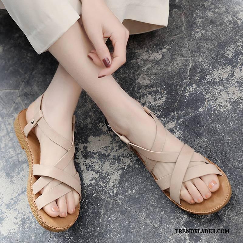 Sandaler Dam 2018 Skola Mode Mjuka Enkel Herr Beige Billigt