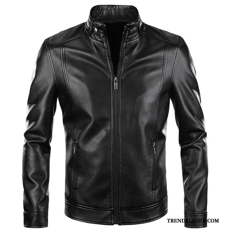 Skinnjacka herr biker slim fit kostym vår skinn brun vacker