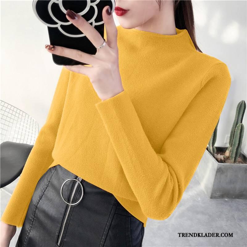 gul stickad tröja dam